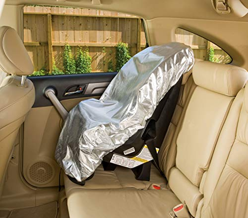 (Car Seat Sun Shade Cover - Keep Your Baby's Carseat at a Cooler Temperature - Covers and Blocks Out Heat & Sun - More Comfortable for Baby or Child - Protection from UV Sunlight - Mommy's Helper )