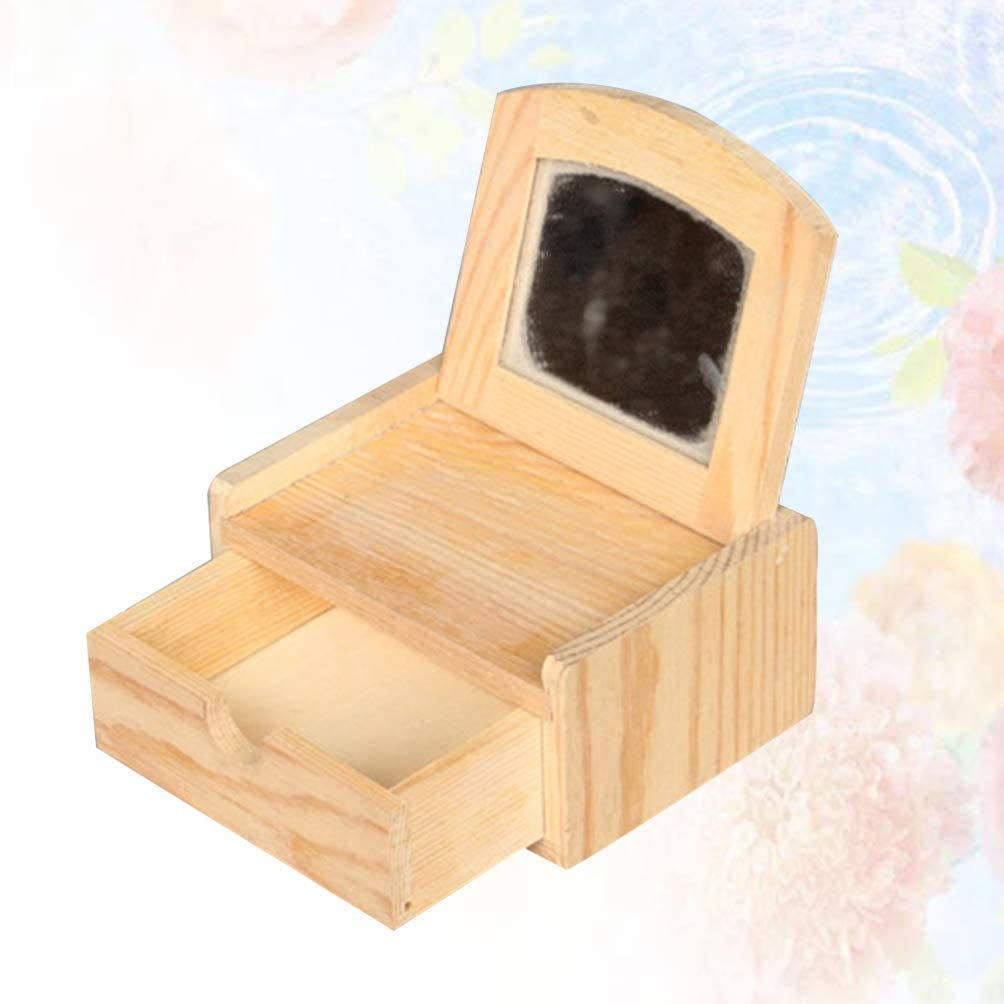Square Shape Unfinished Wooden Jewelry Gift Box DIY Craft Storage Holder Case