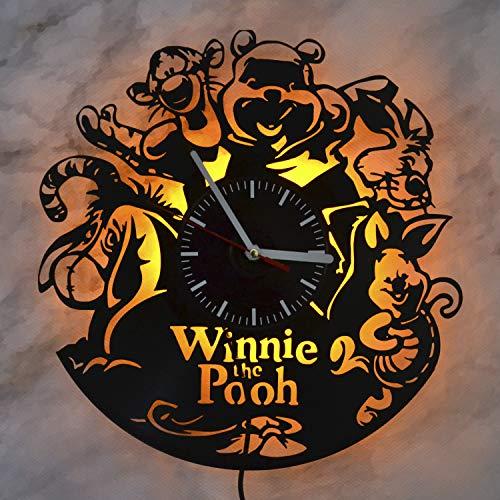 (Winnie The Pooh Disney Character Pooh Bear Night Light Wall Lights Vinyl Record Wall Clock Amazing Home Interior Vinyl Wall Light Best Gift for Any Event Nursery Birthday Gift)