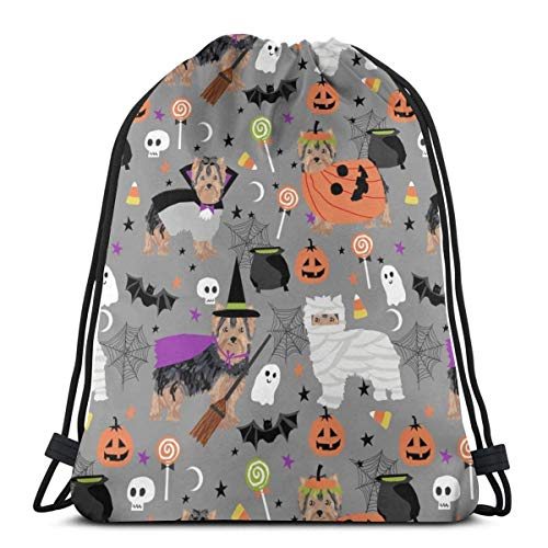 Niomhdos Yorkshire Terrier Yorkie Halloween Costumes Cute Dog Fall Autumn Grey_28015 Custom Drawstring Shoulder Bags Gym Bag Travel Backpack Lightweight Gym for Man Women 16.9
