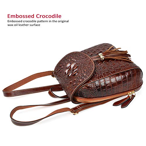 Backpack Fashion Brown Women PIJUSHI 66810 Bags Crocodile Backpack Purses For Leather Casual YUpqpWwa5P