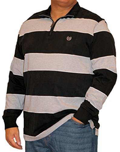 Long Sleeve 1/4 Zip Stripe Knit in Black By Chaps (XL)
