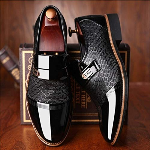Corriee Mens Leather Oxford Shoes Male Pointed Toe Suit Shoes Flats Men's Business Shoes Dress Shoes for Wedding Black by Corriee (Image #3)