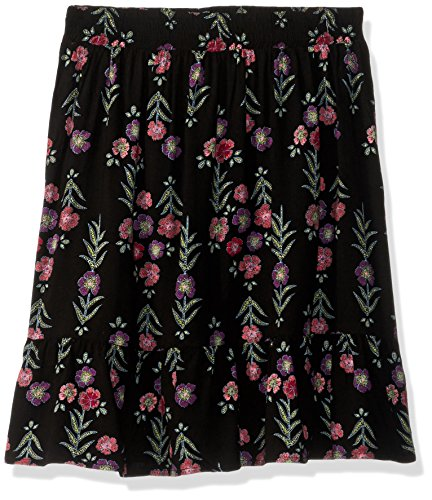 Waist Woven Elastic Skirt (Crazy 8 Girls' Big Woven Skirt, Black Floral Embroidered, M)