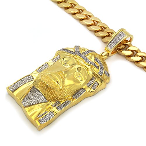 Men's Gold Tone New Fully Iced Out CZ 3D Jesus2 Pendant Hip-hop with 10 mm 30'' Thick Cuban Chain 2 by L & L Nation