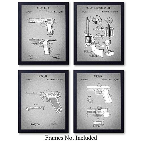 (Famous Handgun Wall Art Patent Prints - Set of Four (8x10) Vintage Unframed Handgun Photos - Great Gift for Gun and Firearm Enthusiasts - Man Cave Home Decor - Gray)