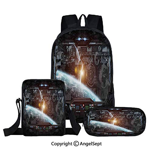 Fashion Backpack Set for School 3 in 1,Control Panel of Cockpit Screen in Spaceflight Androids World Stardust,Orange Gray,Three-piece Bag With Crossbody Pencil Bag ()