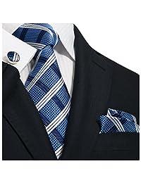 """Landisun Grid Checks Plaids Mens Silk Tie Set: Necktie+Hanky+Cufflinks 31N Blue White, 3.25""""Wx59""""L"""