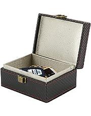 Faraday Box Leather Signal Blocker Box Carbon Fiber Faraday Box for Car Keys RFID Box Key Box Signal Block Key Fob Protector Box Anti-Theft Faraday Box Cage