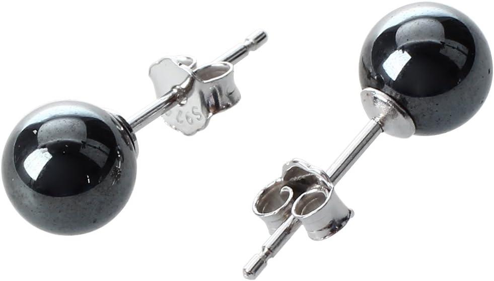 SODIAL(R) Un Par Pendientes Cierres 925 Plata Hematites Earrings Redondo