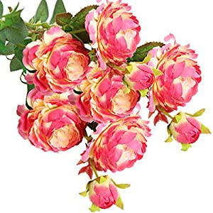 cn-Knight Artificial Flower 8pcs 24'' Silk Peony Long Stem with 2 Blossoms and 1 Bud Faux Flower for Wedding Bridal Bouquet Bridesmaid Home Décor Office Baby Shower Centerpiece(Spotted Rose Red) 18