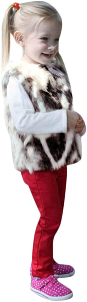 FEITONG Toddler Kids Baby Girls Winter Warm Faux Fur Waistcoat Thick Coat Outwear