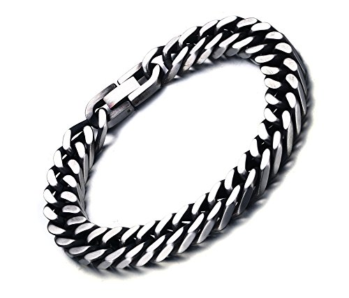 - Mealguet Jewelry Stainless Steel Chunky Handsome Distress Vintage Flat Curb Chain Bracelets for Men,fold-over Clasp,10.5mm