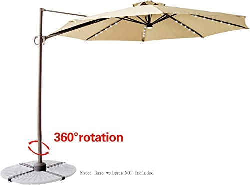 C-Hopetree 10 LED Lighted Cantilever Offset Hanging Market Umbrella with Tilt and Solar Lights for Large Outdoor Balcony or Terrace, Beige