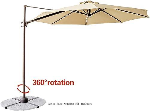 C-Hopetree 10 LED Lighted Cantilever Offset Hanging Market Umbrella