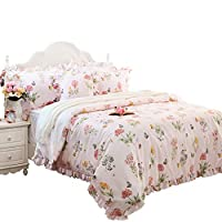 FADFAY Butterfly Duvet Covers Pink Floral Bedding Hypoallergenic Cotton Designer Bedding Set with Ruffle 3 Pieces, 1duvet Cover & 2pillowcases (King/California King Size, Ruffle Style)