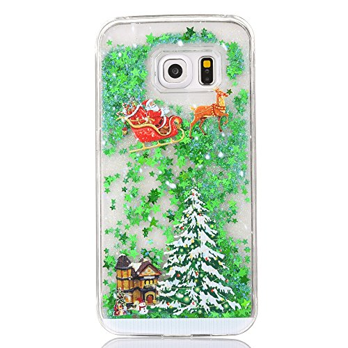 Samsung Galaxy S7 Case, GreenDimension Special Christmas Gifts Quicksand Case, Liquid Flowing Stars Bling Glitter Snowflake Santa Claus Deer Sled Christmas Tree Clear Hard PC Protective Shell (Sled Shell)