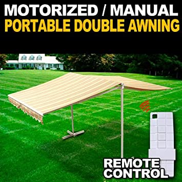 Deluxe Free Standing Portable Motorized Retractable Double Awning