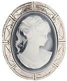 Victorian Vintage Design Cameo Enamel Brooch Pin 2''