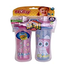 Nuby 531018OG Clik-It Insulated Owl Plus Garden No-Spill Cool Sipper for 18 Month Plus Children(2 Pack), 9 oz(270ml), Blue, Purple