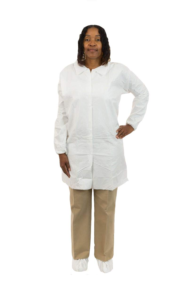 MicroGuard CE Individually Packaged Clean Processed Microporous Lab Coat with Tunnelized Elastic Wrist and No Pockets (L, Case of 50)