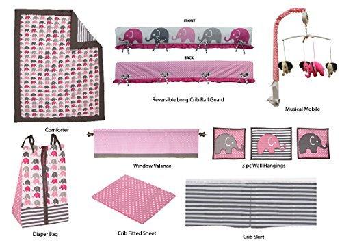Bacati 10-Piece Elephants Nursery-In-A-Bag Crib Bedding Set with Long Rail Guard Pink/Grey [並行輸入品]   B07FDN5Q9S
