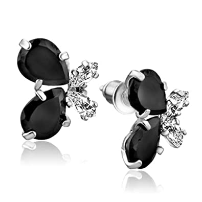 7db70b1be Amazon.com: JewelryJo Water Drop Butterfly Stud Earrings Black CZ  Birthstones Gift For Women Girls Sisters Copper With Gift Box: Jewelry