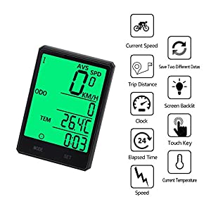 Wireless Bike Computer, Bicycle Speedometer,Cycling Odometer,Multifunction with Extra Large LCD Backlight Display Waterproof Ys-606c (Black)