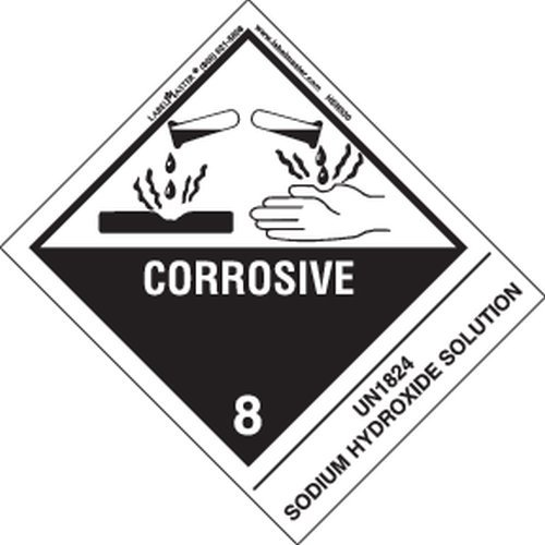 Labelmaster HSN5300 Corrosive Label, UN1824 Sodium Hydroxide Solution, Hazmat, 4.75'' x 4'' (Pack of 500) by Labelmaster®