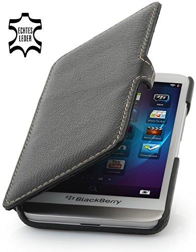 StilGut Book Type with Clip and Sleep/Wake Sensor, Genuine Leather Case, Cover for BlackBerry Z30 (also Z30 Verizon Wireless), Black - Blackberry Z30 Leather Case