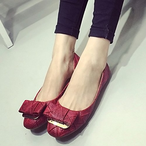 YFF The new women's shoes bow buttoned flat shallow mouth flat buttoned heels women's flat shoes,red , 42 casual all-match B072XJ57WC Parent 7c06c9