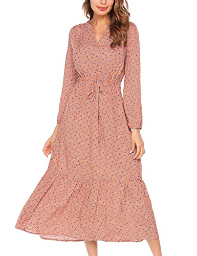 BEAUTYTALK Women's Long Sleeve Spring Floral Casual Chiffon Gown Maxi Dress,Red,S