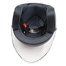 uxcell Jet Black ABS Plastic Motorcycle Safety Half Helmet w Full Face Shield Visor