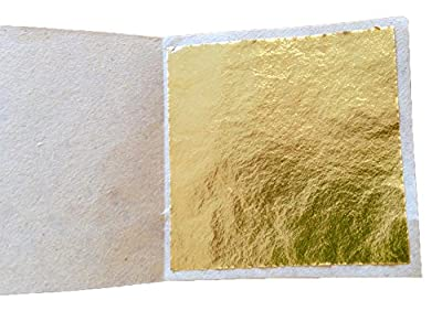 GogoForward 100 x 24K Gold Leaf Sheets. For Art Crafts Design Gilding Framing Scrap