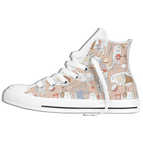Mkajkkok Cartoon Musician Cute Cats With Drum Accordion Tube Guitar Music Theme Pattern Ladies Men's Fashionable High-heeled Lace Canvas Shoes.