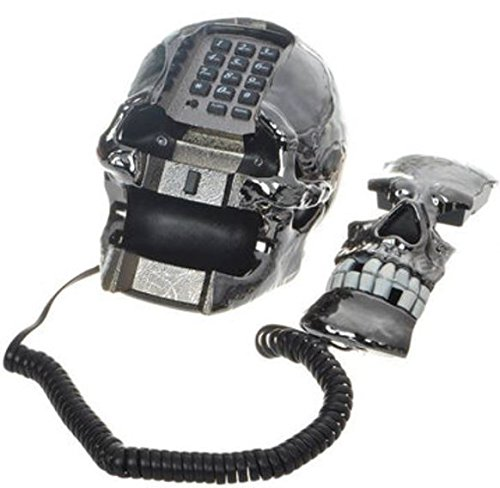 Unique Black Skull Skeleton Shaped Land Line Telephone by shopidea by ShopIdea