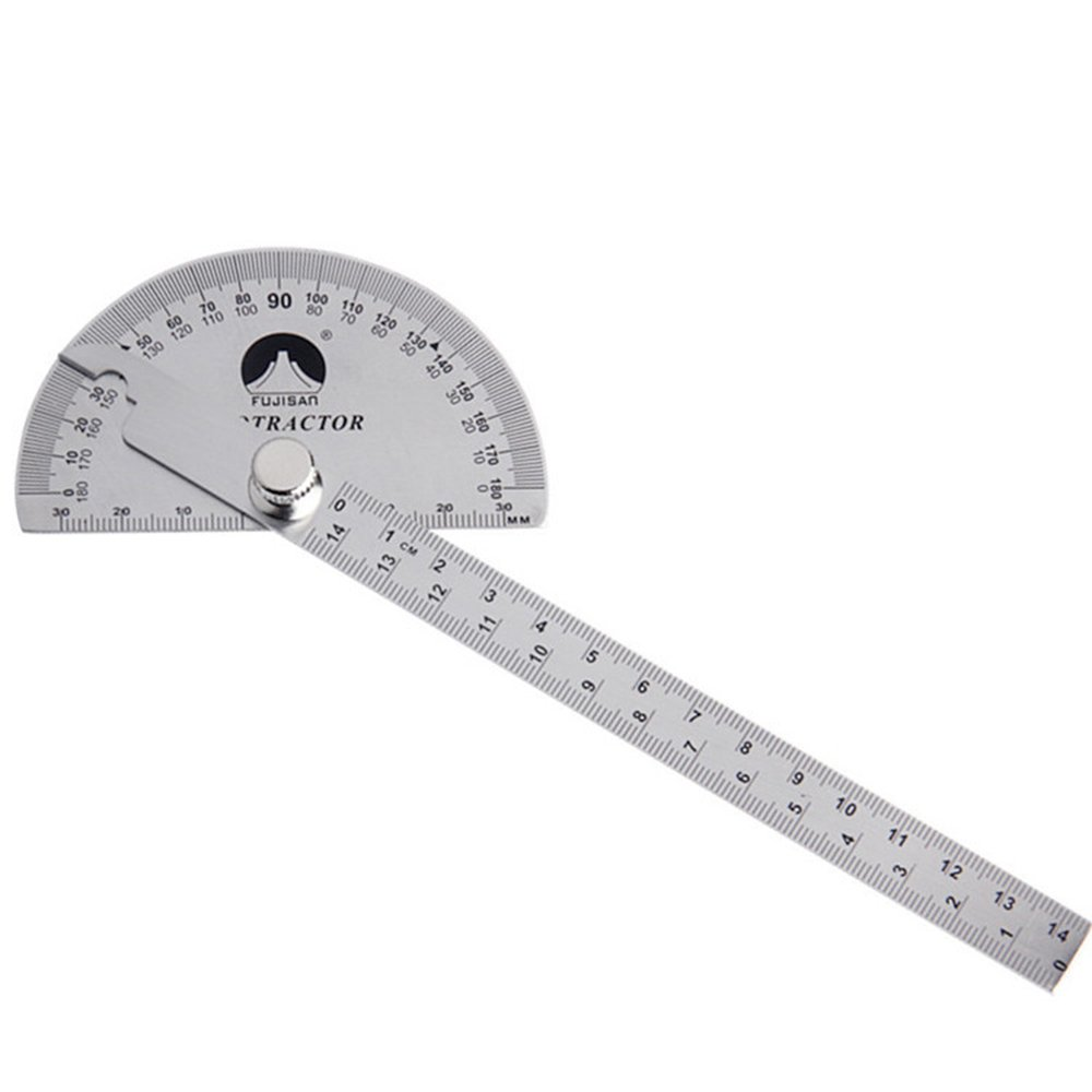 Stainless Steel Protractor, 0-180 Degrees Universal Adjustable Rotatable Angle Protractor for Measuring Angle