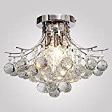 Modern K9 Crystal Chandelier 3 light(Chrome),Mini Style, Flush Mount, Ceiling Light Fixture for , Dining Room, Bedroom, Living Room