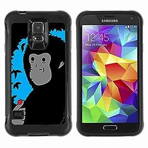 A-type Arte & diseño Anti-Slip Shockproof TPU Fundas Cover Cubre Case para Samsung Galaxy S5 V / SM-G900 ( Funny Monkey & Ladybug Illustration )