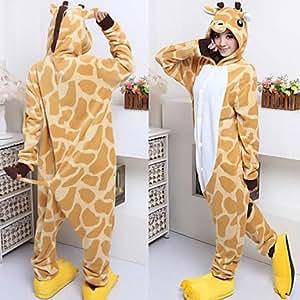 Luy Lovely Giraffe Yellow Polar Fleece Kigurumi Pajamas Cartoon Sleepwear Animal Halloween Costume