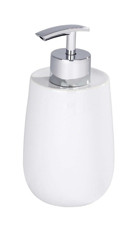Wenko 21654100 Seifenspender Malta Weiß, Flüssigseifen-Spender, Fassungsvermögen 0,3 L, Keramik, 7 x 15,2 cm Flüssigseifen-Spender Fassungsvermögen 0