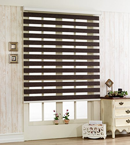 Foiresoft Custom Cut to Size, [Winsharp Woodlook 47] Horizontal Window Shade Blind Zebra Dual Roller Blinds & Treatments, Chocolate, W 27 x H 47 (Inch), 92 Inch Wide by 72 Inch Long (Patio Door Venetian Wooden Blinds)
