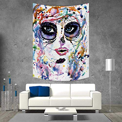 smallbeefly Sugar Skull Customed Widened Tapestry Halloween Girl with Sugar Skull Makeup Watercolor Painting Style Creepy Look Wall Hanging Tapestry 54W x 84L INCH Multicolor