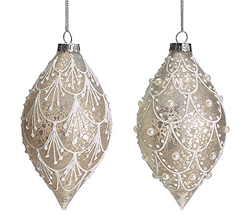 Christmas Tablescape Decor - Victorian style white lace design on silver mercury style glass Christmas ornaments - Set of 2