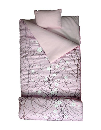 SoHo kids Cherry Blossom children sleeping slumber bag with pillow and carrying case lightweight foldable for sleep over]()