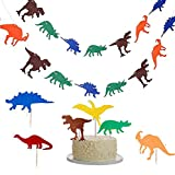 Dinosaur Party Set, 3 Pack Dinosaur Party Banner Happy Birthday Banner Colorful Felt Dinosaur Garland with Dinosaur Cake Topper