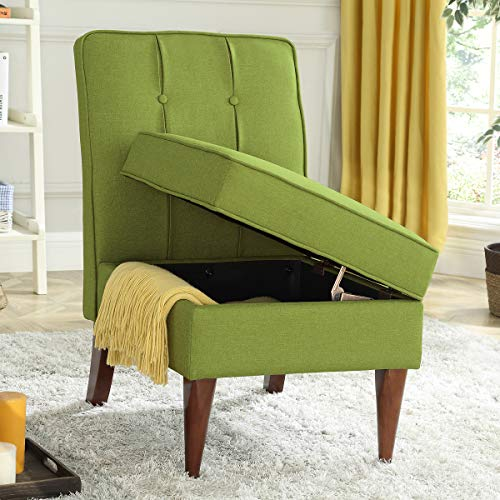 24KF Modern Linen Upholstered Tufted Accent Chair with Storage,Padded Chair -Green (Chair Storage)