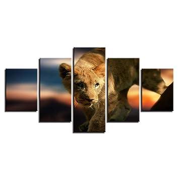 Amazon.com: HIOJDWA Pinturas 5 Piezas Animales Salvajes León ...
