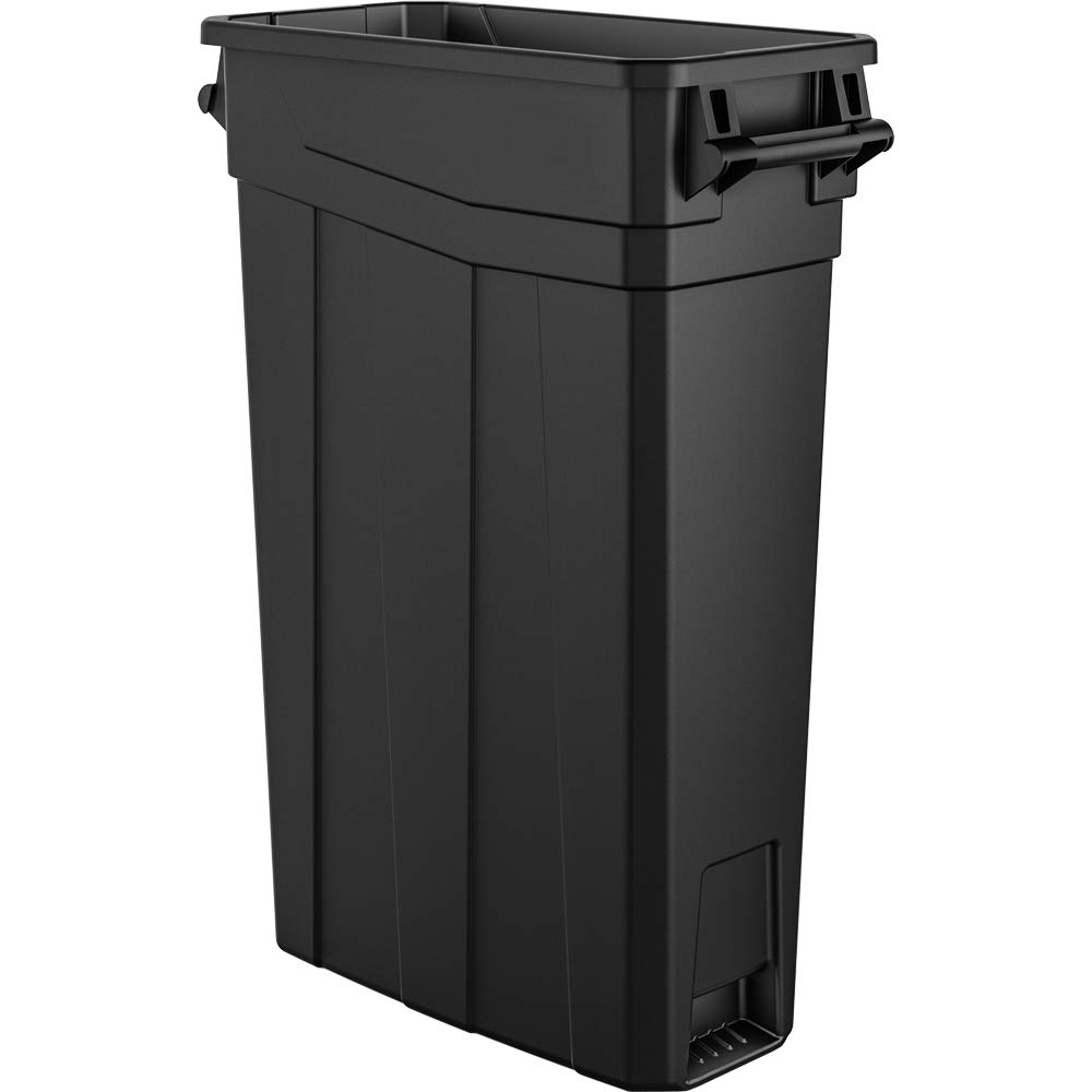 AmazonBasics 23 Gallon Commercial Slim Trash Can with Handle, Black, 2-Pack - TCNH2030BK2A by AmazonBasics