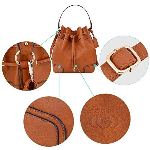 Bag Cuero Bandolera Bolso Shopper Mujer Bolso Bolsa COOFIT de Vintage Mano Diseño Hombro Bolsa Original Bucket Marrón Bolso Mujer AwYAIqF